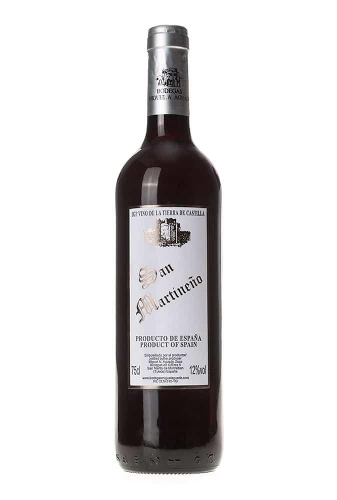 Gran vino tinto tempranillo San Martineño. Vino de la tierra de Castilla.