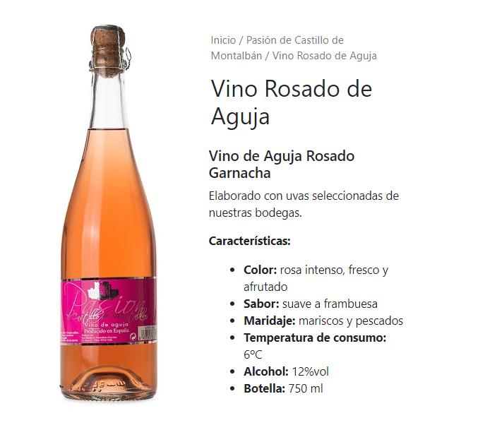 vino rosado pasion castillo de montalban